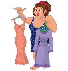 Cartoon overweight young woman holding dresses vector