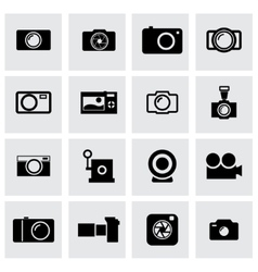 Black camera icon set vector