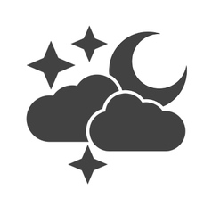 Cloudy with moon vector