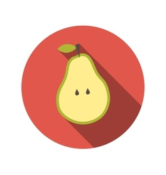 Flat design concept pear with long shadow vector