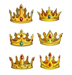 Six golden royal crowns decorated with gemstones vector