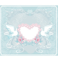 Romantic card with love birds - wedding invitation vector