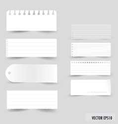 Collection white note papers vector