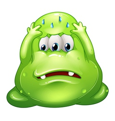 A sad greenslime monster vector