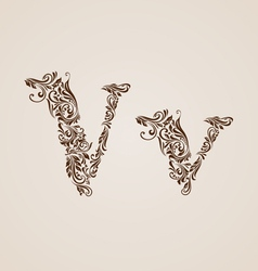 Decorated letter v vector