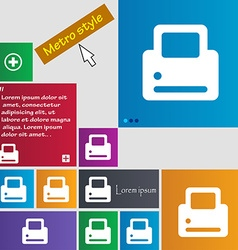 Printing icon sign metro style buttons modern vector