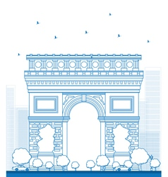 Outline arch of triumph in paris vector