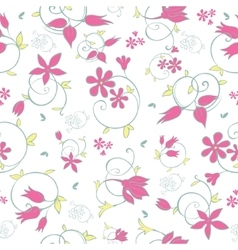 Spring flower swirls seamless pattern vector