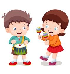 Boy and girl music vector
