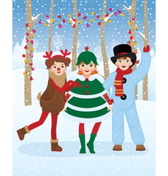 Children in christmas carnival costumes vector