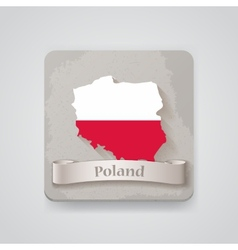 Icon of poland map with flag vector