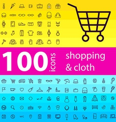 Big set of 100 icons of shopping vector