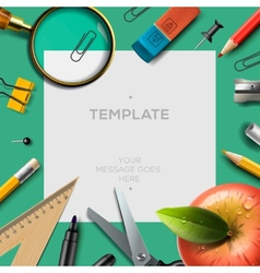 Education template with office supplies back to vector