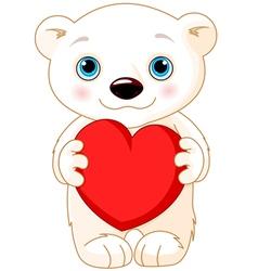 Valentine day polar bear vector