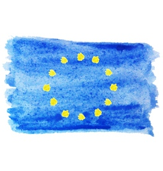 Watercolor flag of european union vector
