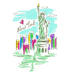 Sketch with statue of liberty vector