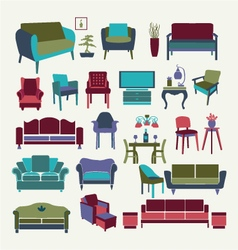 Collection of icons set interior design elements vector