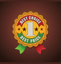 Best choice fabric badge vector