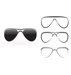 Set of modern glasses and sunglasses isolated on vector