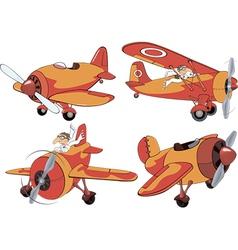 Set of old planes cartoon vector
