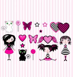 Emo girls vector