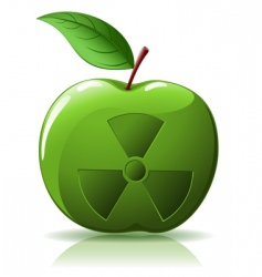 Green apple with nuclear sing vector