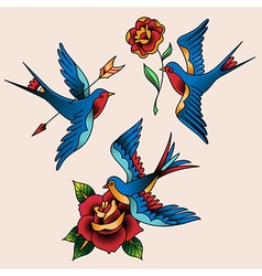 Tattoo set swallow vector