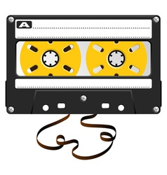 Audio black cassette with damaged tape over white vector