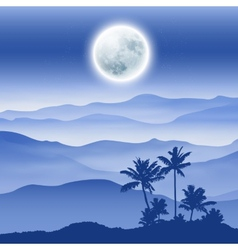 Background with fullmoon palm tree and mountains vector