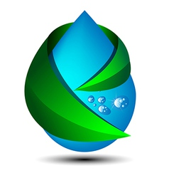 Water drop with green leaf ecology vector
