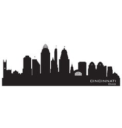 Cincinnati ohio skyline detailed silhouette vector