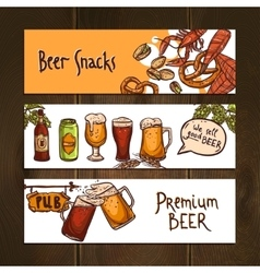 Horizontal beer banners vector