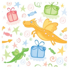 Funny wrapping with dragon vector