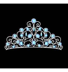 Womens tiara crown wedding with blue stones and pe vector