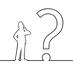 Man with big question mark vector