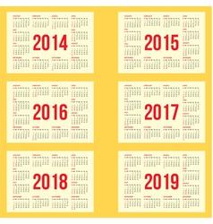 Calendar grid for 2014 2015 2016 2017 2018 vector
