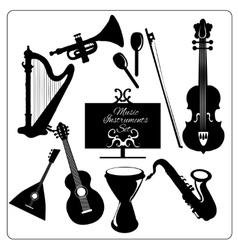 Music instruments black vector