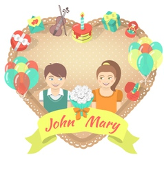 Valentines day card with a couple in love vector