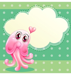 A lovable pink monster with an empty cloud vector