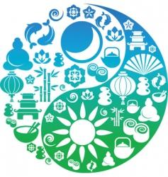 Ying yang symbols vector