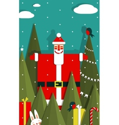 Santa with gifts and presents in woods vector