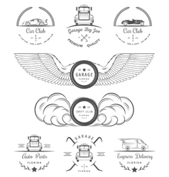 Set of vintage badges car club and garage vector