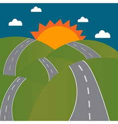 Road to the sun on mountain vector