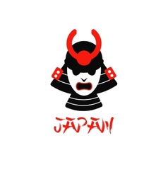 Isolated samurai mask on white vector
