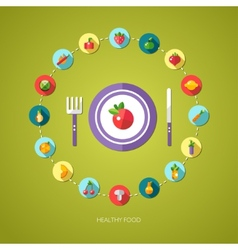 Flat design fruits and vegetables icons composit vector