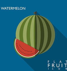 Watermelon flat icon with long shadow vector