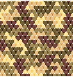 Military romantic seamless pattern of heart khaki vector