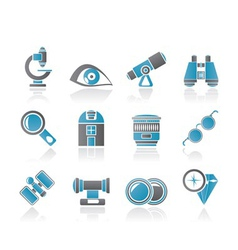 Optic and lens equipment icons vector