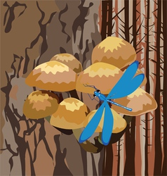 Landscape with mushrooms on a tree vector