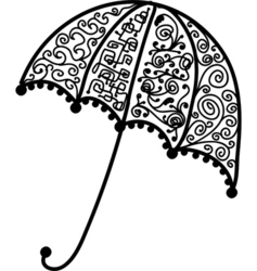 Ornate umbrella design black silhouette vector